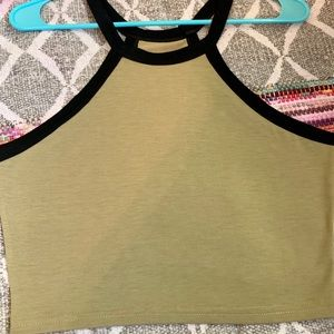 Army Greene colored crop top with black accents